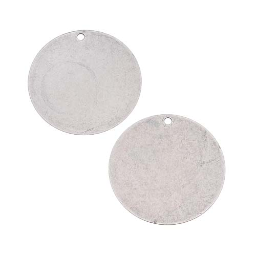 Final Sale - Antiqued Silver Plated Blank Stamping Circle Pendants 25mm (2)