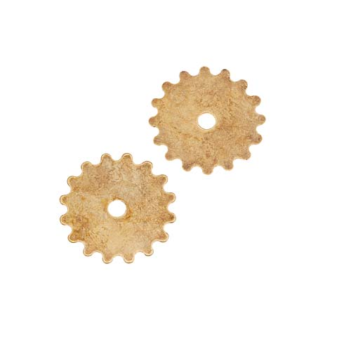 Final Sale - Antiqued Brass Stamping Steampunk Full Gear Cog Wheel Small 16mm (2)