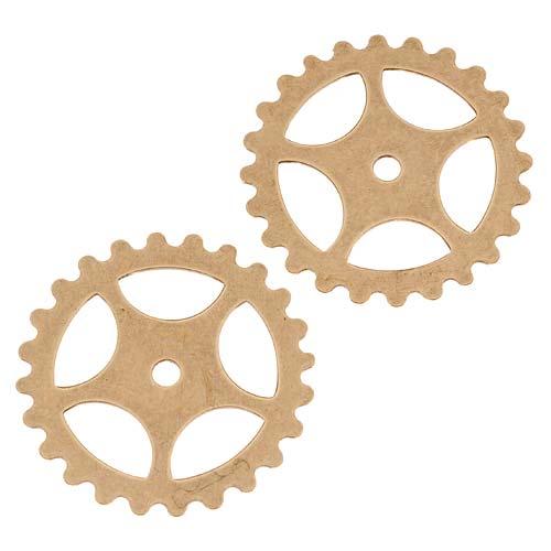 Final Sale - Antiqued Brass Stamping Steampunk Star Gear Cog Wheel 26mm (2)