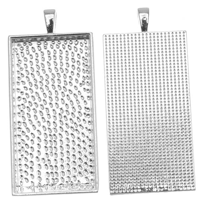 Silver Plated Rectangle Bezel Pendant 24mm x 48mm (1)