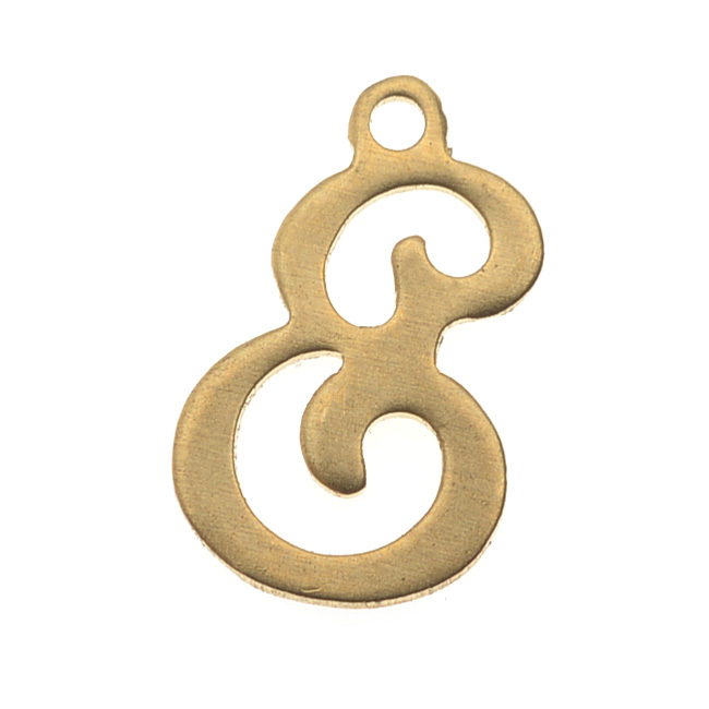 Brass Alphabet Charms, Initial Letter 'E' 11.3mm, 1 Piece, Brass