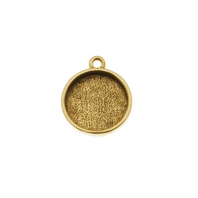 Nunn Design Antiqued Gold Plated Pewter Collage Circle Bezel 1/2 Inch