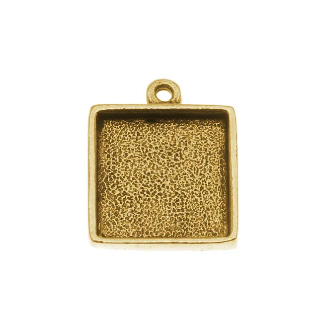 Nunn Design Antiqued Gold Plated Pewter Collage Bezel Square 1/2 Inch