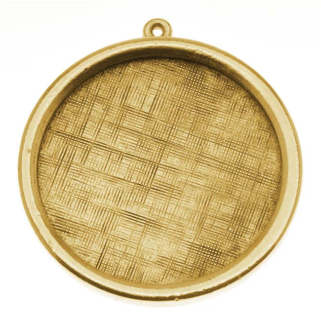 Nunn Design Antiqued Gold Plated Pewter Bezel Large Round Framed Pendant 1 1/4