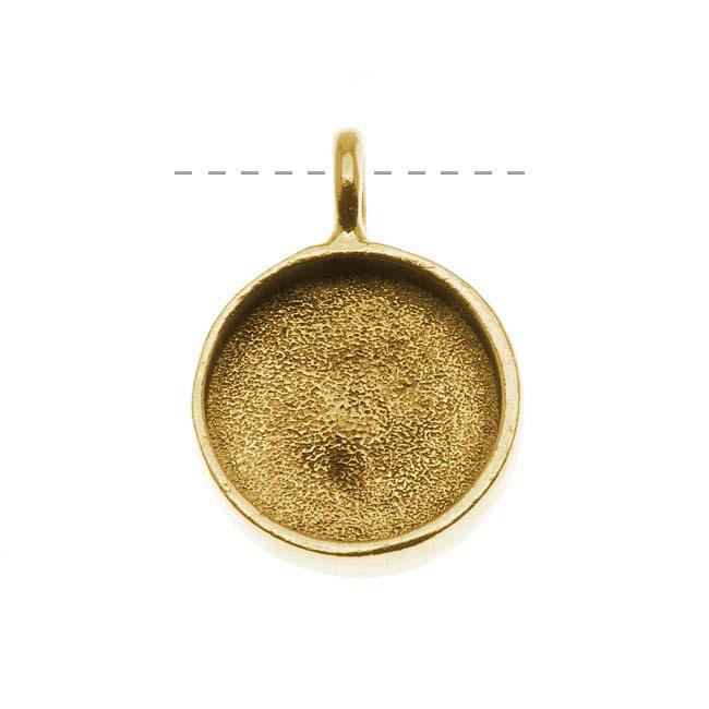 Nunn Design Antiqued Gold Plated Pewter Large Bezel Circle Pendant 19mm