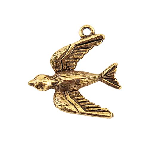 Nunn Design Antiqued 24K Gold Plated Pewter Bird Charm 22mm