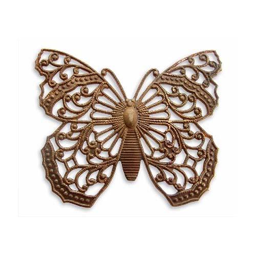 Vintaj Natural Brass Ornate Filigree Butterfly Stamping 38x46mm (1)