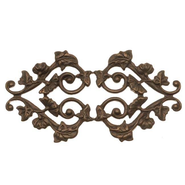 Final Sale - Vintaj Natural Brass Deco Vines Filigree Stamping 59x31mm (1)