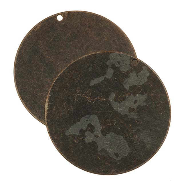 Vintaj Natural Brass Rustic Altered Blank Circle Pendants 34mm (2)