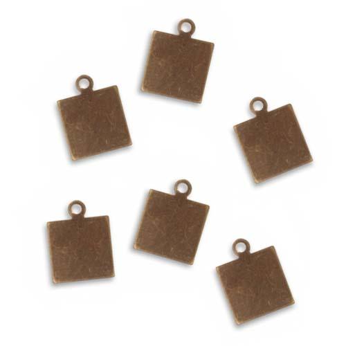 Final Sale - Vintaj Natural Brass Rustic Altered Blank Square Pendants 10mm (6)
