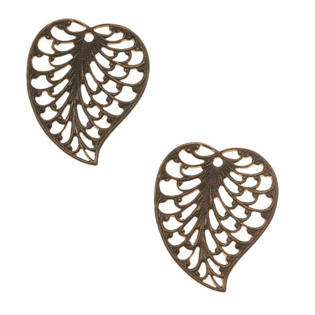 Vintaj Natural Brass Fancy Filigree Leaf Charms 19mm (2)
