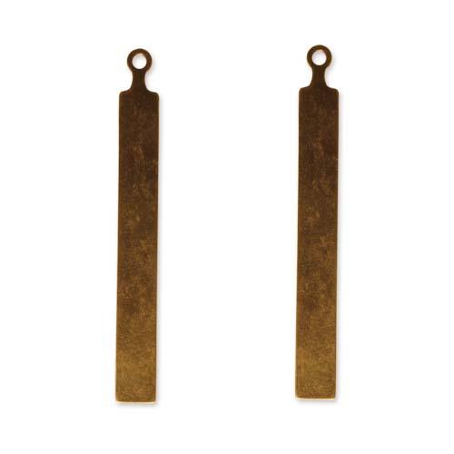 Vintaj Natural Brass Altered Blank Stamping Long Tall Tag Pendants 67mm (2)