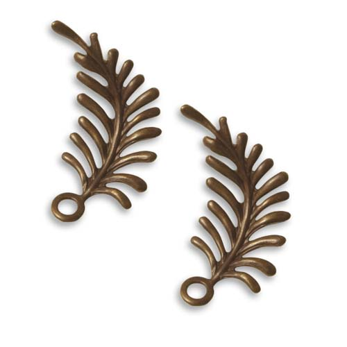 Vintaj Natural Brass Fastenables Fern Curving Left Leaf Charms 30x12mm (2)