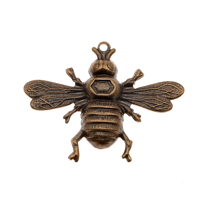 Vintaj Natural Brass Bumble Bee Stamping Pendant 26.5x33mm (1)