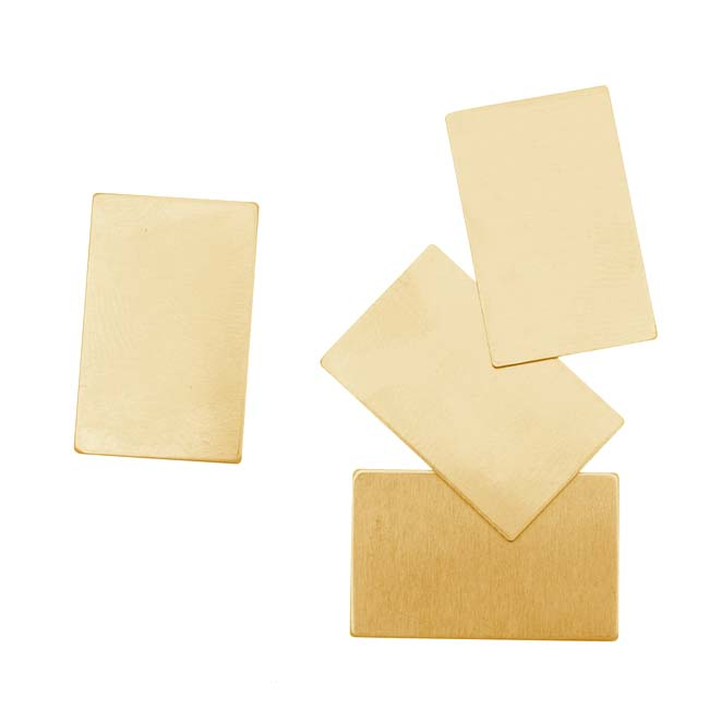 Solid Brass Rectangle Stamping Blanks - 22x14mm 24 Gauge (4 Pieces)