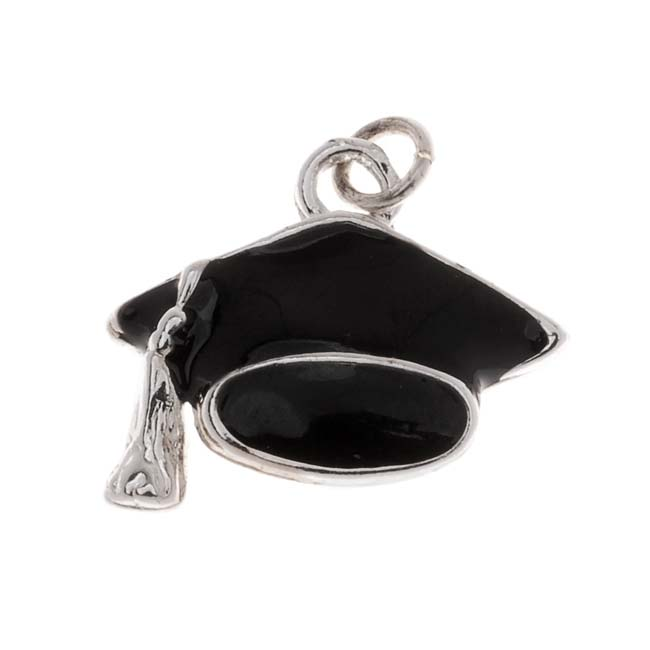 Final Sale - Silver Plated Black Enamel Graduation Cap Mortarboard Hat Charm 15mm (1)