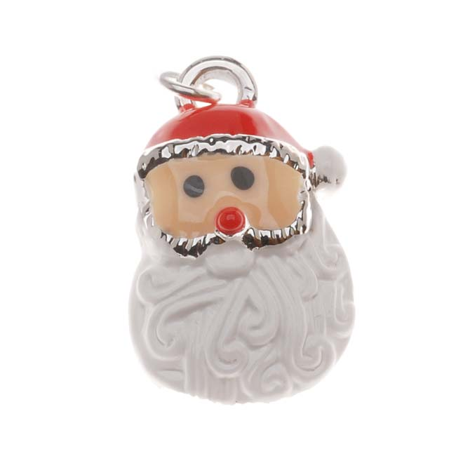 Silver Plated With Enamel Christmas Curly Beard Santa Claus Charm 19mm (1)
