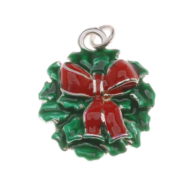 Silver Plated Green Red Enamel Christmas Wreath Charm 18mm (1)