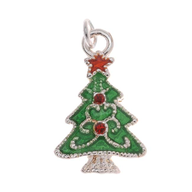Silver Plated Enamel Charm Christmas Tree Adorned With SWAROVSKI ELEMENTS Crystal 19mm (1)