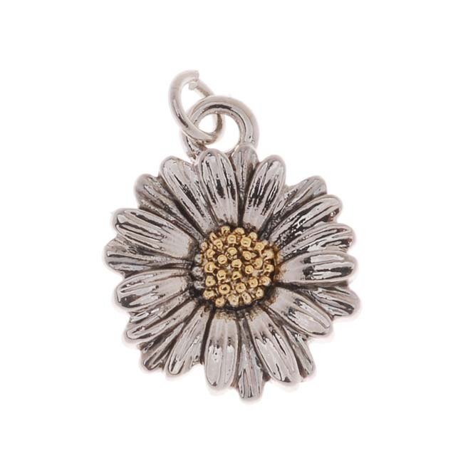 Antiqued 22K Gold And Imitation Rhodium Plated Daisy Charm 13x16mm (1)
