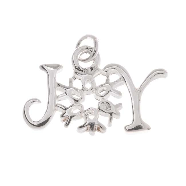 Silver Plated Christmas 'Joy' Snowflake Charm 12x19mm (1)
