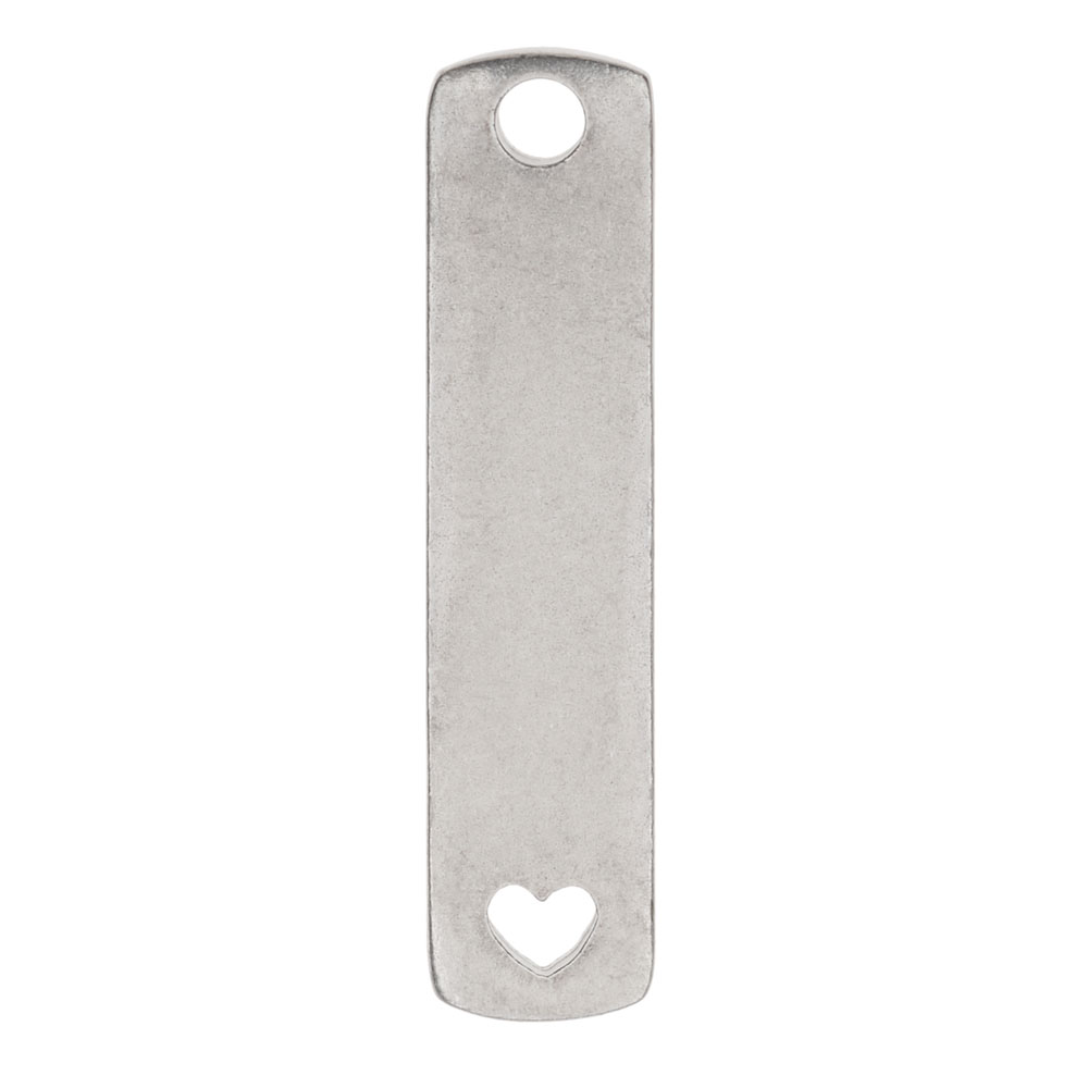 ImpressArt Soft Strike Blanks, Flat Rectangle Pendant with Open Heart 38 x 9.5mm, 1 Piece, Pewter