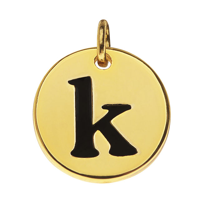 Final Sale - Lead-Free Pewter, Round Alphabet Charm Lowercase Letter 'k' 13mm, 1 Piece, Gold Plated
