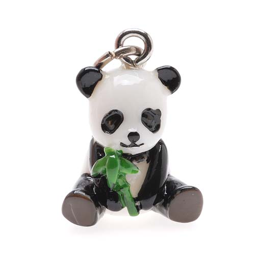 Jewelry Charm, 3-D Hand Painted Resin Panda W/ Bamboo 19mm, 1 Piece, Black and White