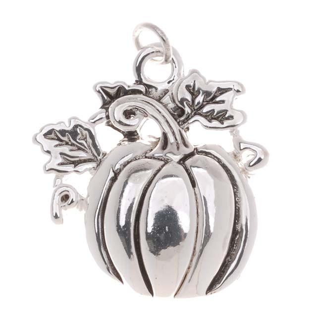 Antiqued Silver Plated Harvest Pumpkin Charm 21mm (1)