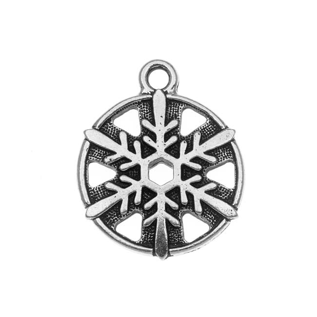 TierraCast Fine Silver Plated Round Snowflake Pendant 19.4mm (1)