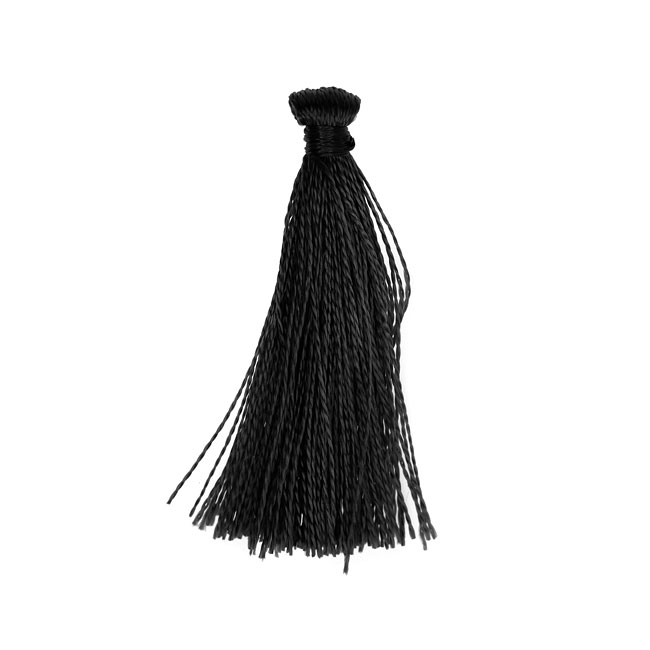 Nylon Cord, Tassels 35mm, 6 Pieces, Black