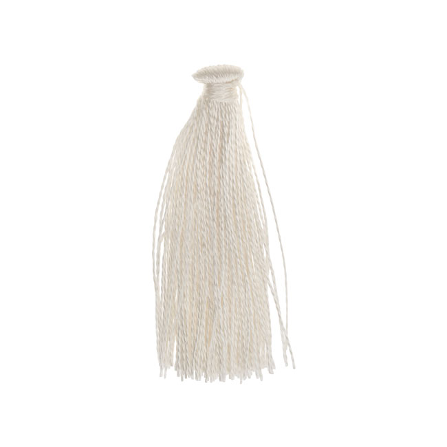 Final Sale - Nylon Cord, Tassels 35mm, 6 Pieces, White