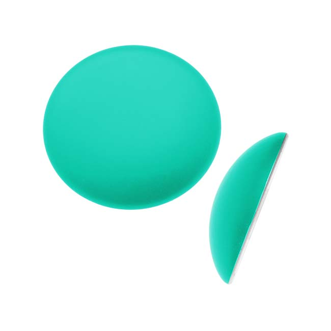 Beadsmith Lunasoft Glowing Lucite Cabochon 18mm Round - Matte Spearmint Green (1)