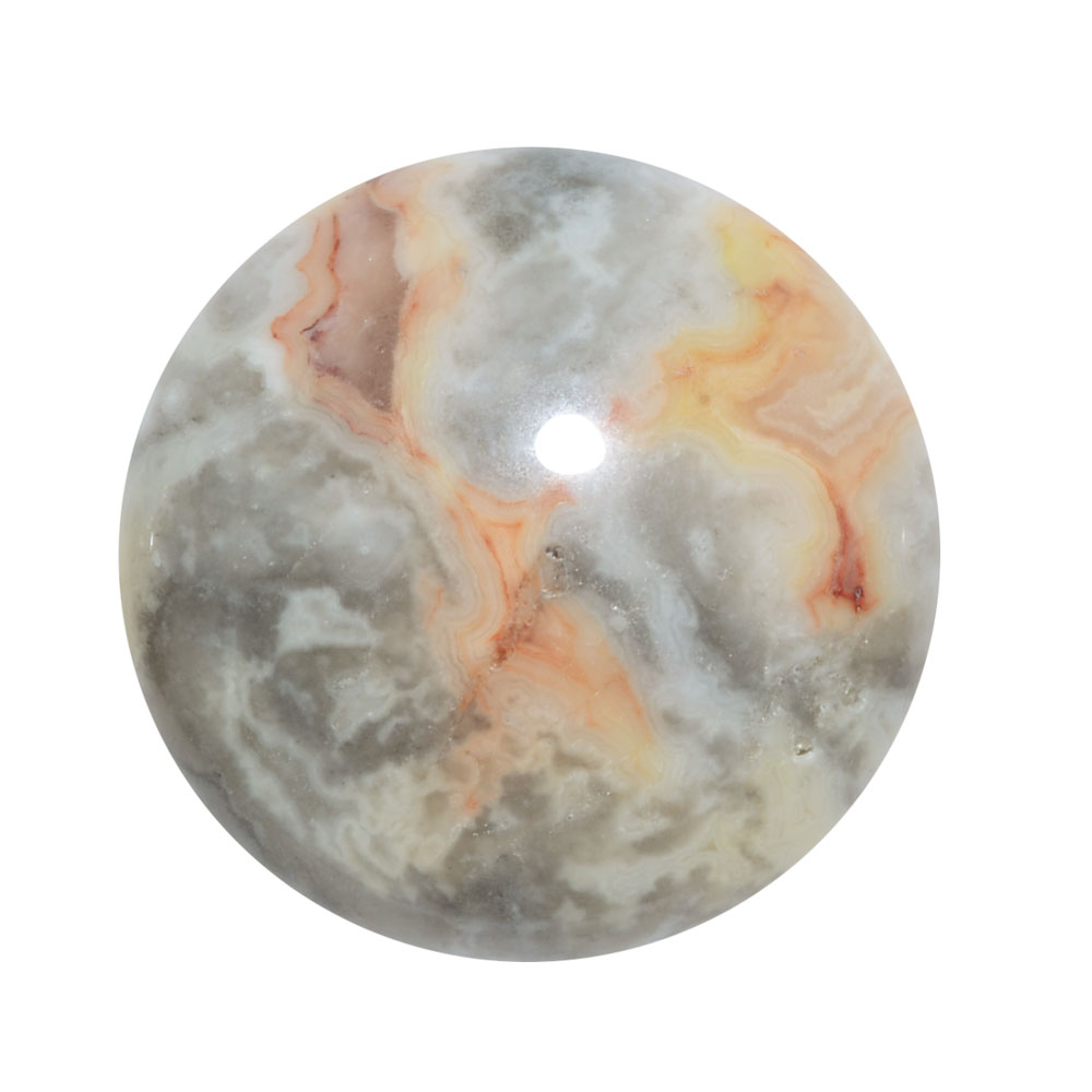Mexican Crazy-Lace Agate Gemstone Round Flat-Back Cabochons 25mm (1 Piece)