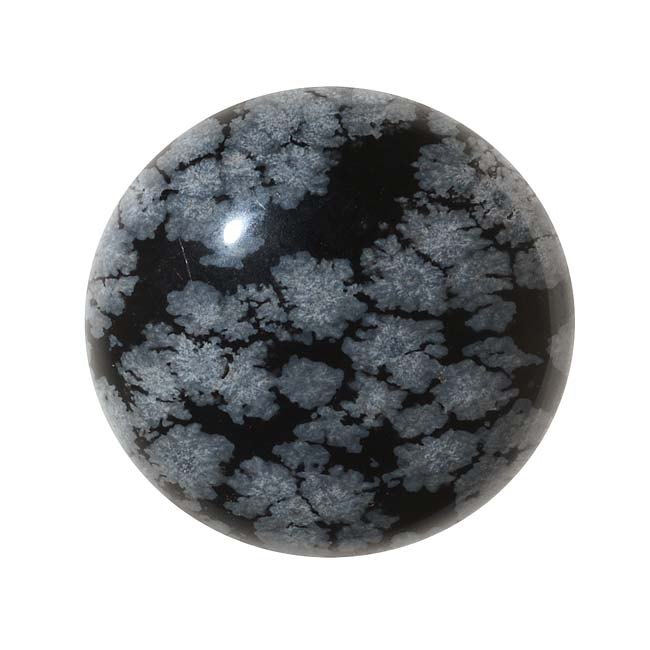 Snowflake Obsidian Gemstone Round Flat-Back Cabochon 25mm (1 Piece)