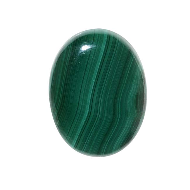 Malachite Gemstone Oval Flat-Back Cabochon 25x18mm (1 Piece)