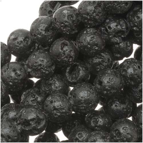 Natural Lava Gemstone Beads, Round 4.5mm, 15.5 Inch Strand, Black