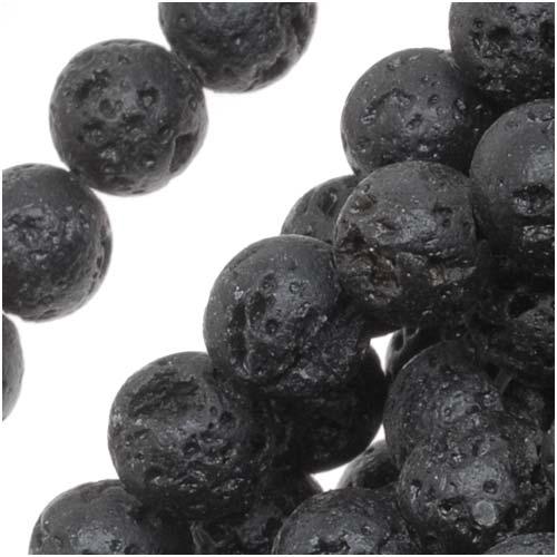 Gemstone Beads, Lava, Round 6mm, 15 Inch Strand, Black