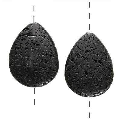 Natural Lava Gemstone Pendant Beads, Flat Teardrop 40mm, 2 Pieces, Black
