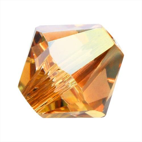 Swarovski Crystal, #5328 Bicone Beads 3mm, 25 Pieces, Crystal Metallic Sunshine
