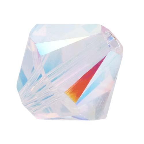 Swarovski Crystal, #5328 Bicone Beads 4mm, 24 Pieces, Crystal AB 2X