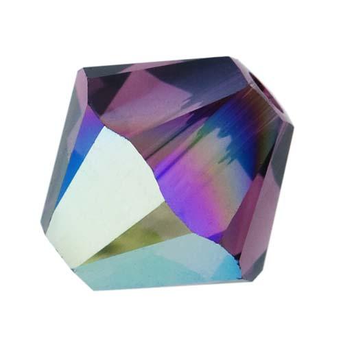 Swarovski Crystal, #5328 Bicone Beads 4mm, 24 Pieces, Amethyst AB