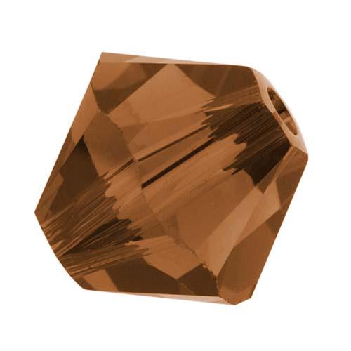 Swarovski Crystal, #5328 Bicone Beads 4mm, 24 Pieces, Smoked Topaz
