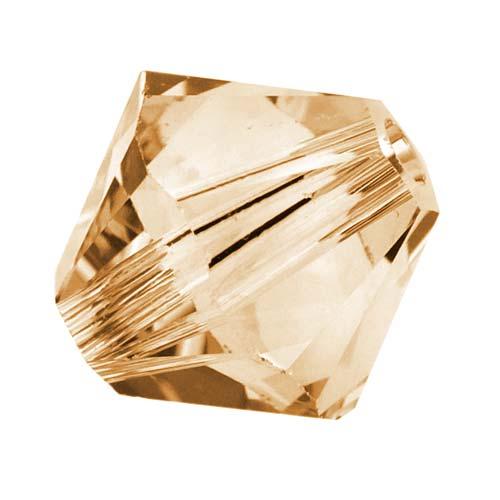 Swarovski Crystal, #5328 Bicone Beads 4mm, 24 Pieces, Crystal Golden Shadow