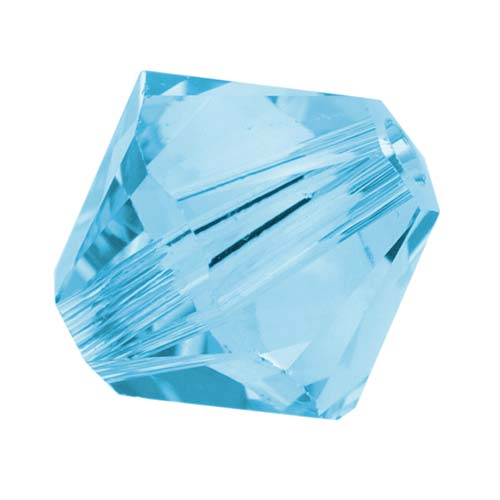 Swarovski Crystal, #5328 Bicone Beads 4mm, 24 Pieces, Aquamarine