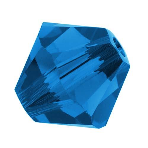 Swarovski Crystal, #5328 Bicone Beads 4mm, 24 Pieces, Capri Blue