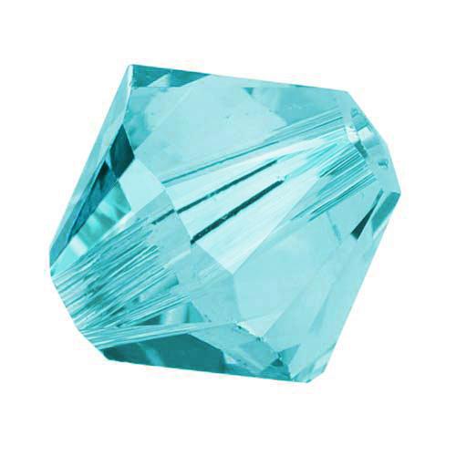 Swarovski Crystal, #5328 Bicone Beads 4mm, 24 Pieces, Light Turquoise