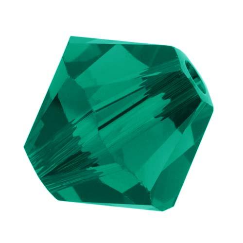 Swarovski Crystal, #5328 Bicone Beads 4mm, 24 Pieces, Emerald