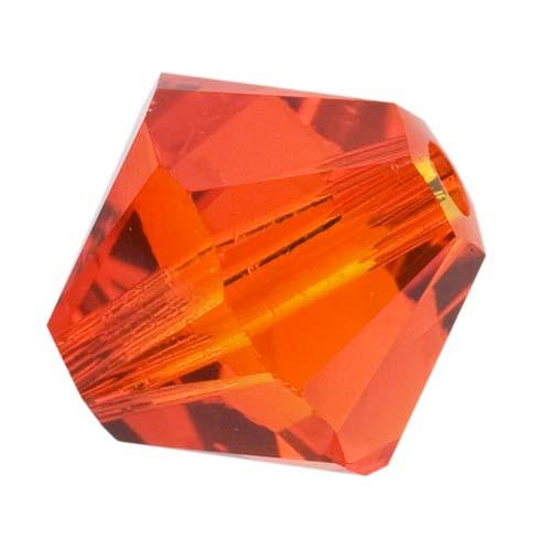 Swarovski Crystal, #5328 Bicone Beads 4mm, 24 Pieces, Fire Opal