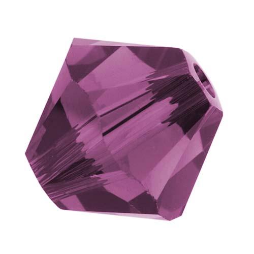 Swarovski Crystal, #5328 Bicone Beads 4mm, 24 Pieces, Amethyst